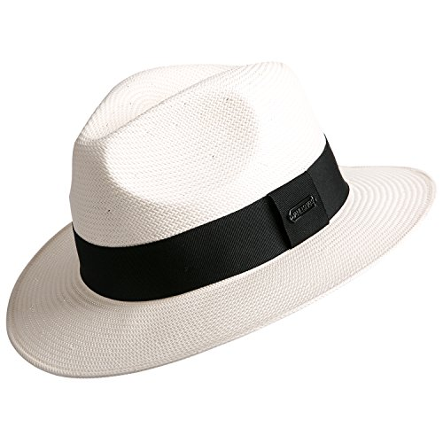 (Janetshats Gambler Panama Straw Hat Fedora Hats for Men Imported White Japanese Paper, Large)