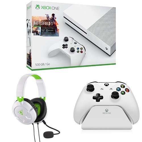 Xbox One S 500GB Console – Battlefield 1 Bundle + Turtle Beach Recon 50X White Stereo Gaming Headset + Controller Gear White Controller Stand v2.0