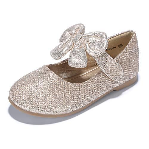 PANDANINJIA Girl Shoes, Toddler/Girl's Megan Mary Jane Flats School Uniforms Wedding Party Dress Flat Shoes,Gold