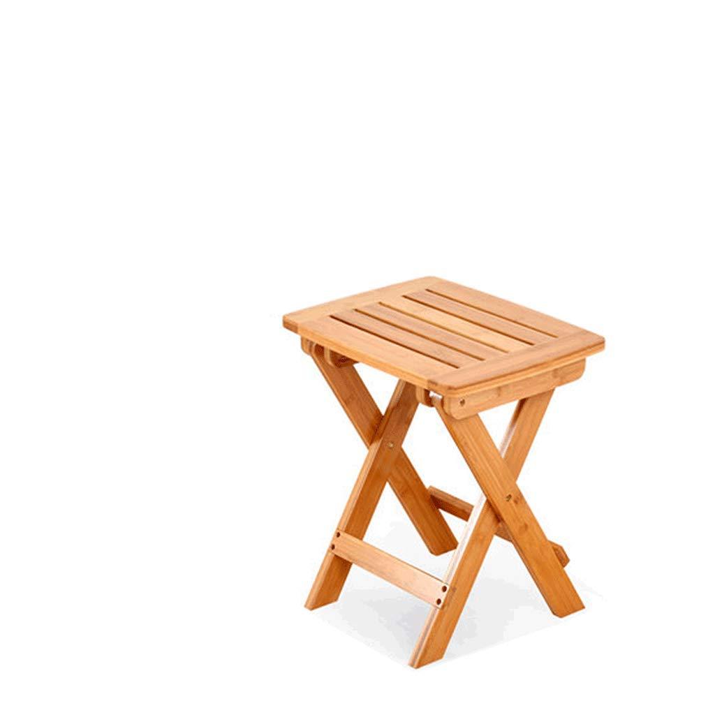 Sillas plegables Taburete Plegable portátil Que acampa, acampa al Aire Libre Resto del pie Cubre con el toldo con la Tabla Lateral, bambú, Altura los 34.5cm (Color : Natural, Tamaño : L)