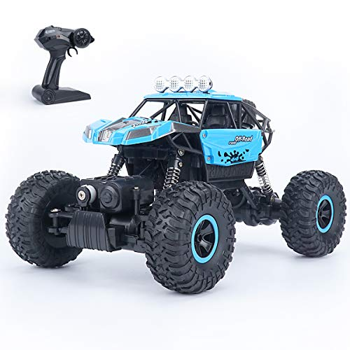 RC Cars Remote Control Car Trucks 1:18 Scale Off Road RC Rock Crawlers Rechargeable High Speed Vehicle Toys Car for Kids and Adults, Blue
