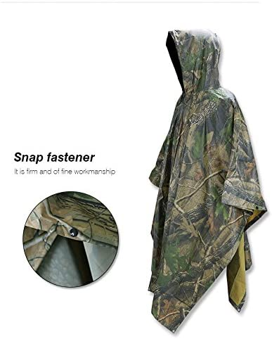 Universal Army Hooded Ripstop Rain Poncho Military Camping Hiking with Carry Bag for Outdoor Activities 40 /× 56 Greensen Waterproof Rain Poncho