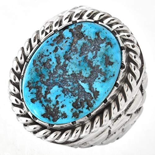 Natural Kingman Turquoise Mens Ring Navajo Sterling Adobe Pattern 0008