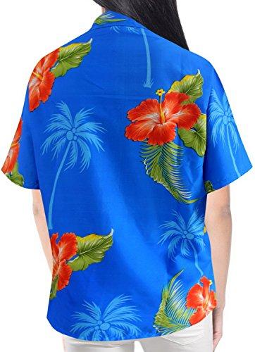 mujeres ropa de playa regalos Tirantes camisa de la blusa de manga corta hawaiano aloha azul de las se�oras Azul