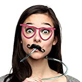 Hatcher lee 6 Pcs Per Package Creative Love Heart Fun Crazy Funny Glasses Straw Art Straw Party Straw-Various Colors Straw Party Decoration (Pink heart)