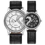 Yoyorule 1 Pair/2pc Tiannbu Ultrathin Leather Romantic Fashion Couple Wrist Watches White+Black