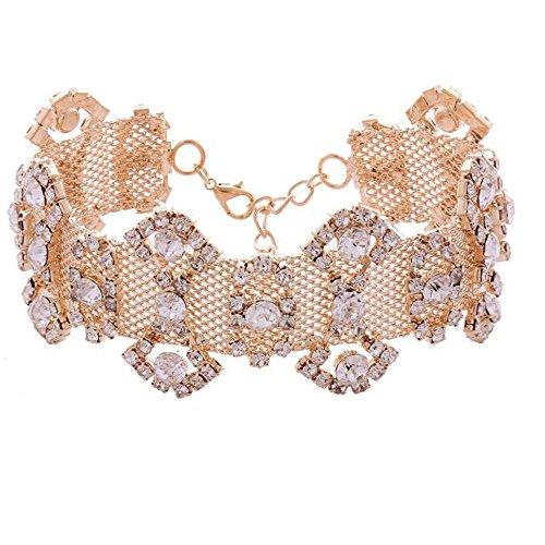 HoGadget Women Punk Rhinestone Bow Tie Choker Necklace Collar Chain (Golden)
