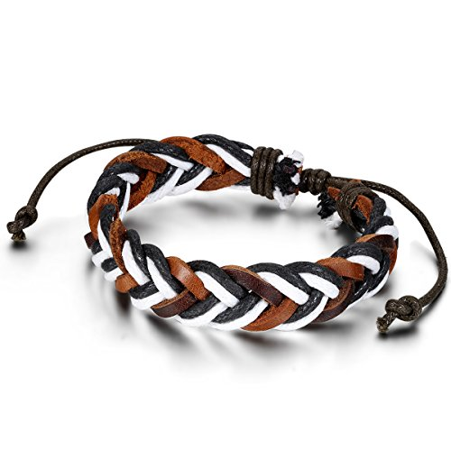 Flongo Men's Punk Style Handcrafted Brown Braided Curb Adjustable Chain Leather Bracelet, Fit 7-9 inch Wrist, Woven Leather Rope Wrap Surfer Cuff Bracelet