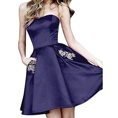 Beaded Waist Strapless Gown - TTYbridal Strapless Beaded Homecoming Dresses Short Satin Cocktail Prom Gown with Pockets 16 Dark Navy