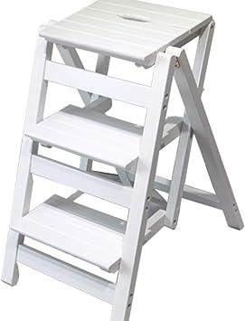 KFDQ Inicio Taburetes, escalera plegable - Taburete Escalera pequeña escalera de madera Taburete plegable de 3 pisos - Taburete plegable Escalera portátil Taburete - para el hogar Jardín Biblioteca C: Amazon.es: Bricolaje y herramientas