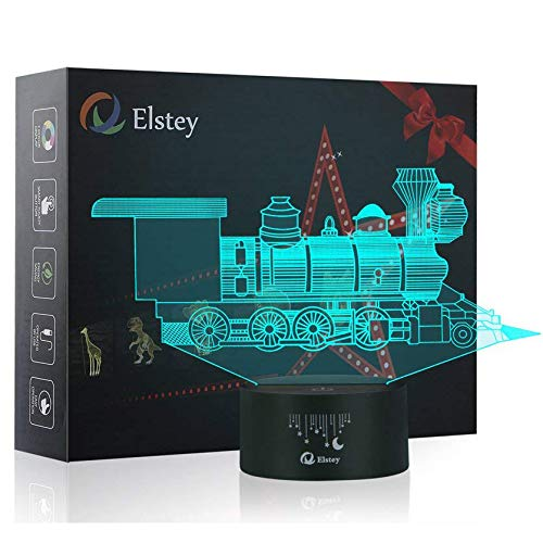 Train 3D Lamp Optical Illusions Night Light, Elstey 7 Color Change USB Cable Smart Touch LED Desk Table Lamp for Kids Christmas Gift