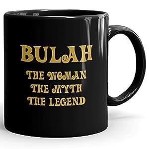 Bulah Coffee Mug, Personalized Gift, The Woman The Myth The Legend - 11 oz Black Mug - Gold Black 1