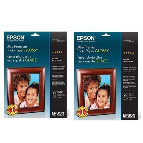 Epson 2x Ultra Premium Glossy Inkjet Photo Paper, 11.8 mil., 8x10