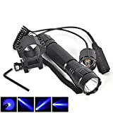 $42.491 Set (1Pc) Inspiring Fashionable 600-LM Blue LED Flashlight Military Grade Rifle Gun Rail Coated Glass Lens Hunting Light Police Lights Colors Black with Mount and Pressure Switch