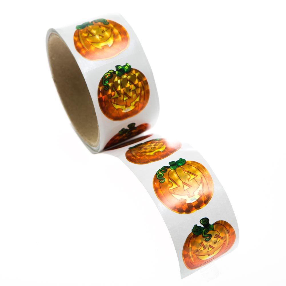 100 Prism Pumpkin Stickers Roll - Jack-O'-Lantern Halloween Party Supplies Fun Express Inc. 146-2433