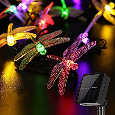Dragonfly Solar String Lights, LAFEINA 16.4 Feet 20 LED Garden Lights Fairy Decorative Lighting for Outdoor Christmas Garden Patio Lawn Fence Yard Home Wedding Party Seasonal Holiday Decoration