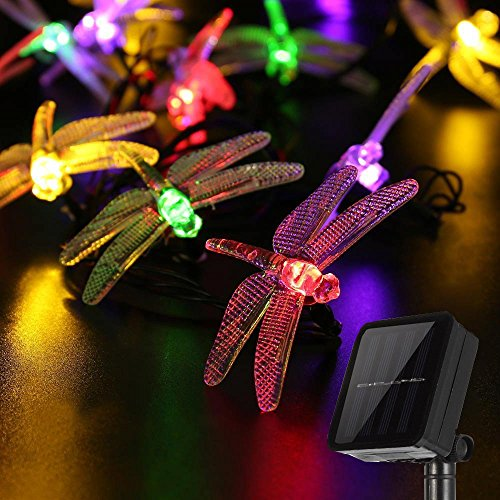 Dragonfly Solar String Lights, LAFEINA 16.4 Feet 20 LED Garden Lights Fairy Decorative Lighting for Outdoor Christmas Garden Patio Lawn Fence Yard Home Wedding Party Seasonal Holiday Decoration from LAFEINA