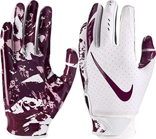Nike Youth Vapor Jet 5.0 Receiver Gloves 2018 (White/Deep Maroon, Small)