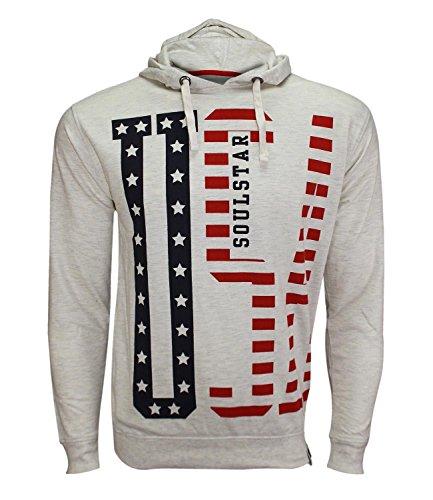 Soulstar Men's Designer Pullover Hoodie Sweatshirt Hooded Usa Top Jumper Small Borough - Ecru