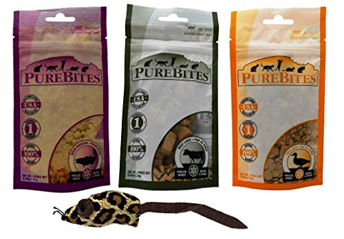 PureBites Freeze Dried Natural Cat Treats 3 Flavor Variety with Toy Bundle, 1 Each: Ocean Whitefish, Beef Liver, Duck Liver (.39-.85 - Catnip Treat Liver