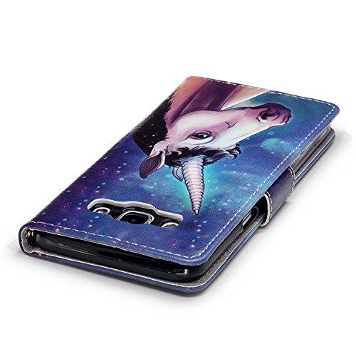 Funda Galaxy J5 2016 (J510F),SainCat Funda de cuero sintético tipo billetera con correa de cordón de Suave PU Carcasa Con Tapa y Cartera,Ranuras para Tarjetas y Billetera Funda de Flip Ranuras Tarjeta Unicornio