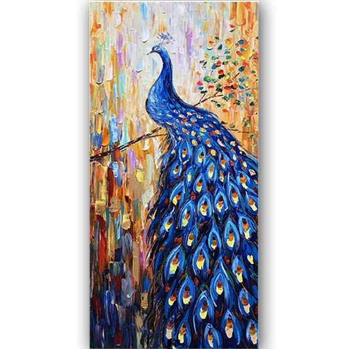 Dark Blue Peacock Canvas Wall Art Animal Bird Paintings 3D Textured Handmade Oil Paintings On Canvas Modern Home Decor Art Pictures Wall Decor for Living Room Hallway Stretched and Framed -