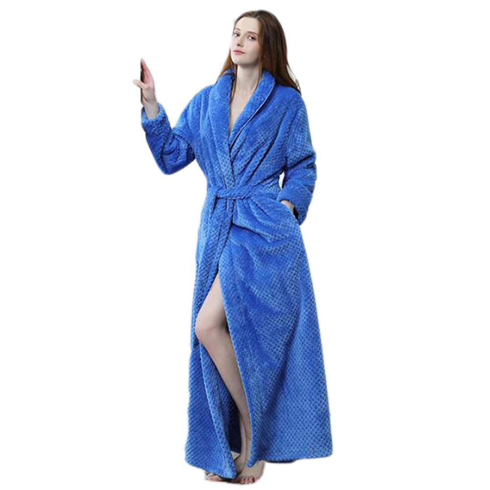 blueefemale Autumn and Winter New Ladies Couple Waist Coral Fleece Long Bathrobes Flannel Pajamas Robe, White,whitefemale,XL