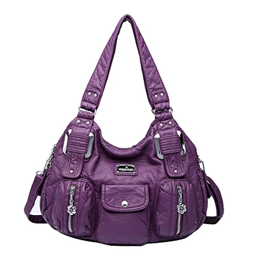 Angelkiss 2 Top Zippers Closure Multiple Pockets Handbags Washed Leather Purses Shoulder Handbags 8420 (Purple)