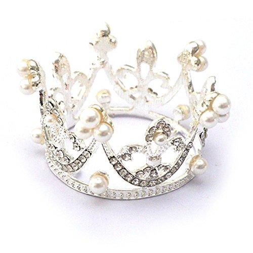 Kuzhi Wedding Party Baby Circle Round Mini Crown Tiara (Silver)