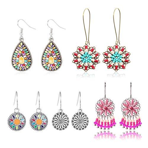 COMMINY 5 Pairs Bohemian Vintage Dangle Earrings, Metal Round Water Drop Shape Seed Bead Pendant Earrings Set Boho Chic Jewelry for Women Girls