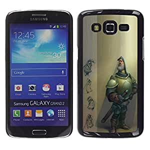 Be Good Phone Accessory // Dura Cáscara cubierta Protectora Caso Carcasa Funda de Protección para Samsung Galaxy Grand 2 SM-G7102 SM-G7105 // knight character computer graphics cgi