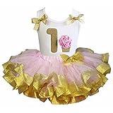Kirei Sui Gold Satin Trimmed Tutu 1st Rosette Cupcake Tank Top 2pcs Set