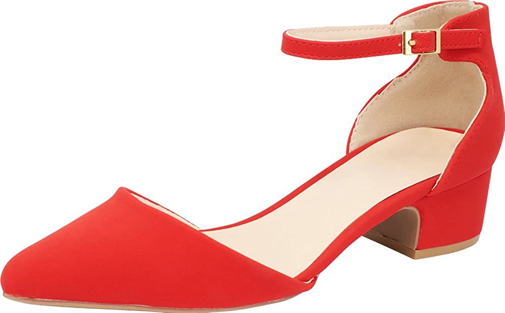 fa95983fc9308 Cambridge Select Women's Closed Pointed Toe Buckled Ankle Strap Chunky  Block Low Heel Pump
