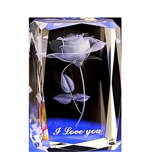 Cristal Verre Cube Rose Presse-papiers Sculpture 3D Statue Laser Souvenir Artisanat Cadeau Cadeau pujiang
