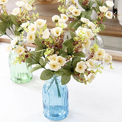 [Senjie 2pcs Artificial Flowers Mini Rose with Leaves Bouquets Silk Floral for Wedding Home Decor DIY (creamy white)] (Autumn Leaf Bouquet)