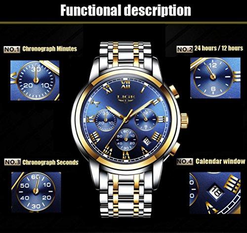 LIGE Men's Quartz Stainless Steel Watch, ColorBl