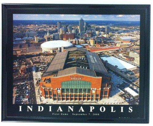 Framed Football Indianapolis Lucas Oil Stadium Aerial Photo Art Print F7574A