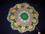Spring Flower Doily,Small Table Lace, Multi-Yellow Flowers, 10 inches
