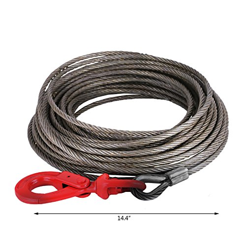 """LOVSHARE 3/8"""" 75 FT Wire Rope 2T Steel Core Winch Cable with Self Locking Swivel Hook Steel Cable for Tow Truck Flatbed (75 FT) by LOVSHARE (Image #1)"""