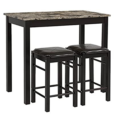 Best Choice Products 3pc Dining Table Set Includes Table and 2 Stools
