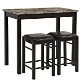 Best Choice Products 3-Piece Dining Table Set w/Table and 2 Stools - Black