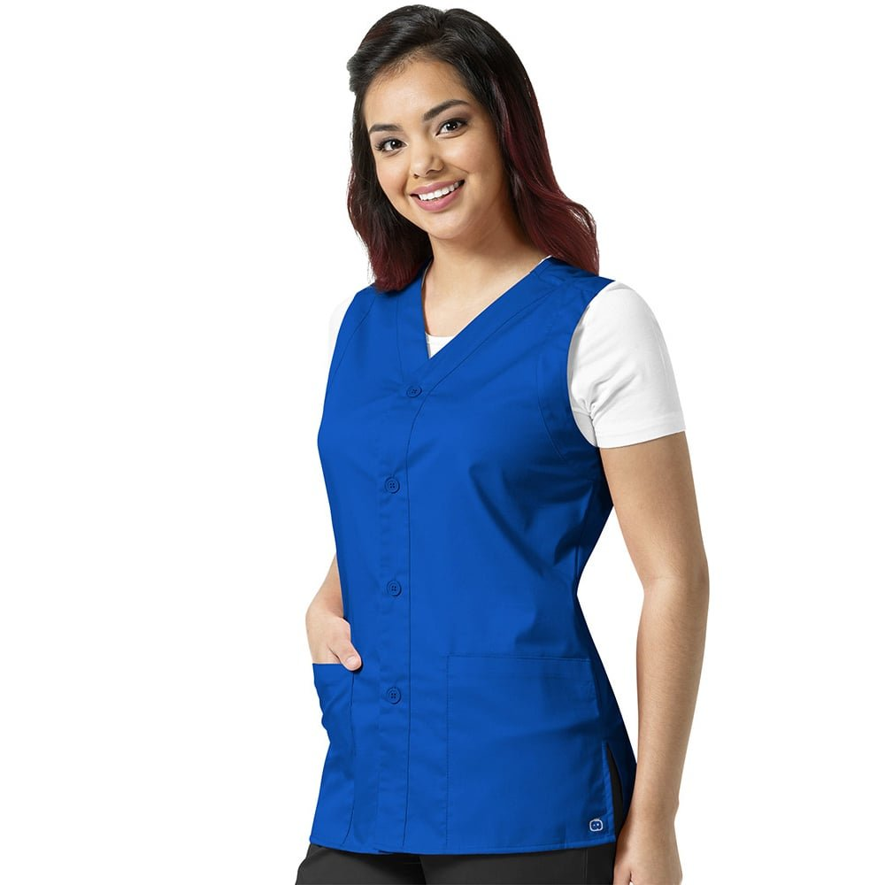 WonderWork Unisex Button Front Solid Scrub Vest X-Large Royal