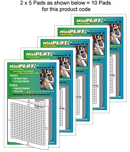 MiniPLOT adhesive backed Graph Paper for Algebra: Ten count - 3 x 3 pads - X Y axis coordinate grid templates printed on Post-It pads. 50 graphs per pad. Grid = 20x20 units. Use for homework!
