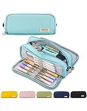 Pennenetui etui tienermeisjes etui pennen 3 vakken, grote capaciteit pennenetui voor school & kantoor (lichtblauw)