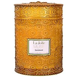 La Jolíe Muse Candela profumata legno di sandalo, cera di soia naturale per la casa, candela da regalo, 90 ore di…