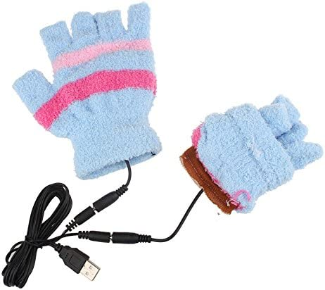 FENSIN Gants Demi-Doigts USB Chauffage Hiver Main Gants Chauds Mitaines chauffantes sans Doigts