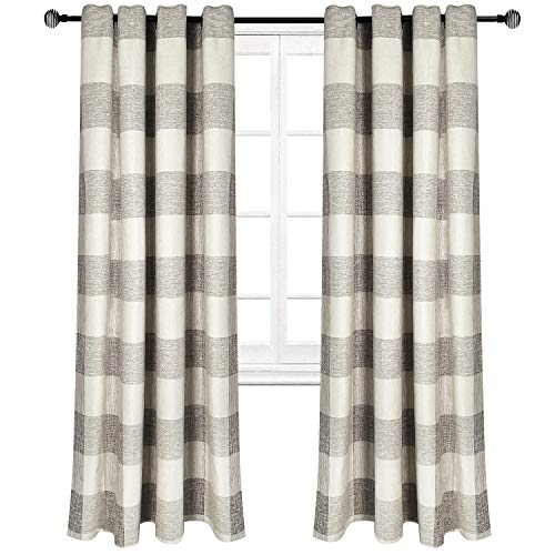 (Riyidecor Grey and White Plaid Check Curtains Linen Lattice Grid Modern Classic Living Room Bedroom Window Drapes Treatment (2 Panels 52 x 84 Inch))
