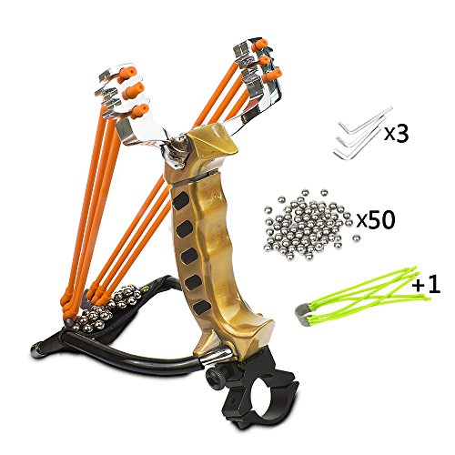 Wisdoman MoreFarther Outdoor Athletics Slingshot Kit, Adjustable Stainless Professional Hunting Catapult High Powerful Slingshots Rubber Bands and 50 Steel Balls ()