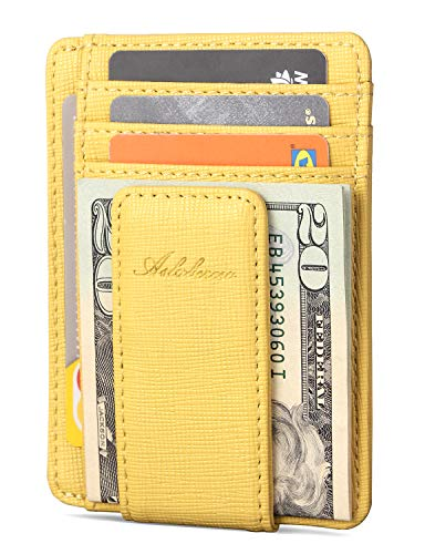 AslabCrew Minimalist Genuine Leather Magnetic Front Pocket Money Clip Wallet RFID Blocking Card Wallets, Pluie-Yellow