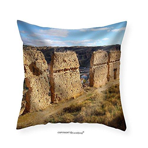 VROSELV Custom Cotton Linen Pillowcase Image of Medieval Town Daroca Teruel Aragon Spain - Fabric Home Decor 16''x16'' by VROSELV
